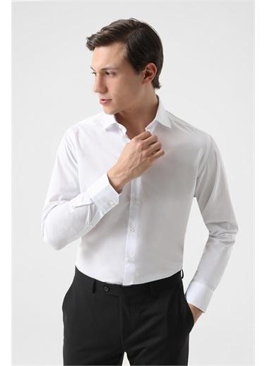 D'S Damat Ds Damat Regular Fit Beyaz Armürlü Gömlek Beyaz